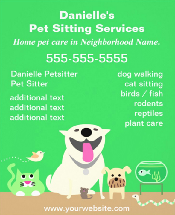 green pet sitter flyer