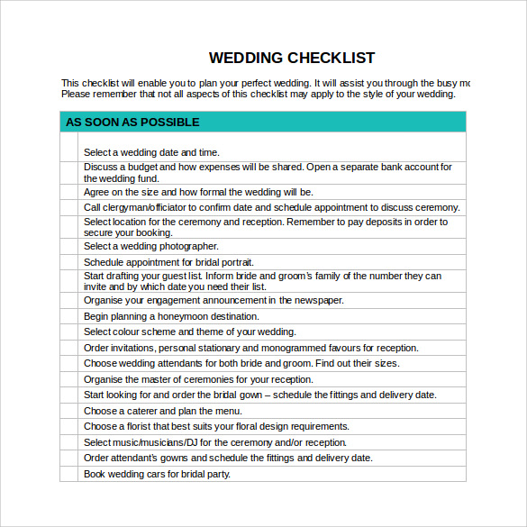 Wedding Checklist Template Word