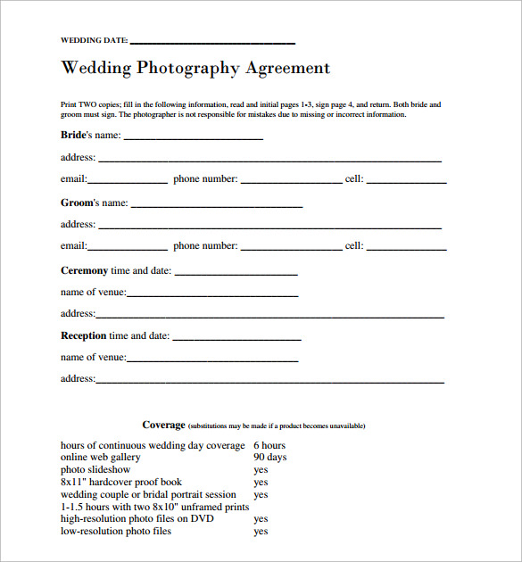 Stunning Wedding Contract Pictures Inspiration Resume Ideas