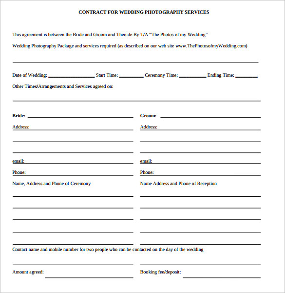Wedding contract template 18 download free documents for Contract for wedding photography services