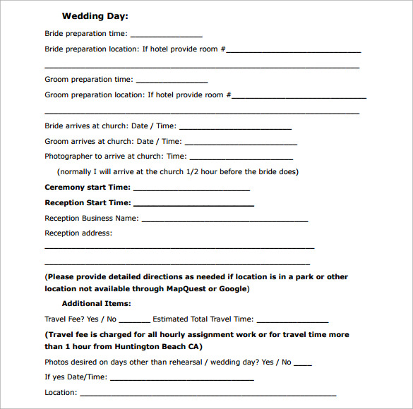 Wedding Contract Template    Download Free Documents In Pdf
