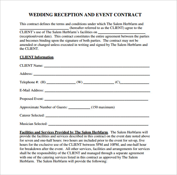 Wedding Reception Contract