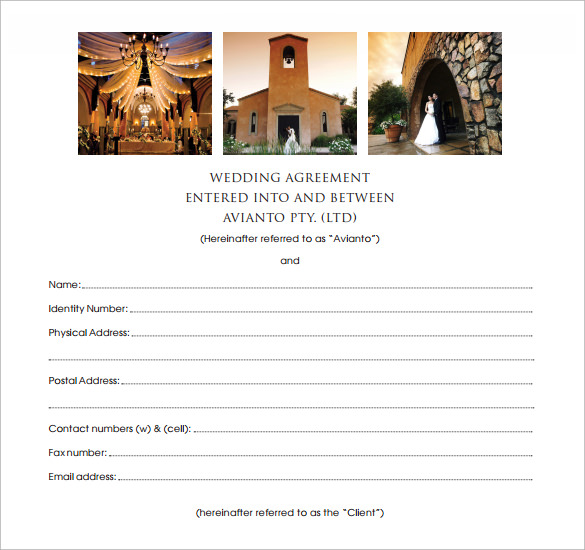 avianto wedding contract