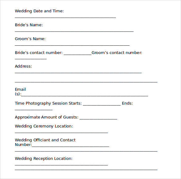Wedding Contract Templates to Download