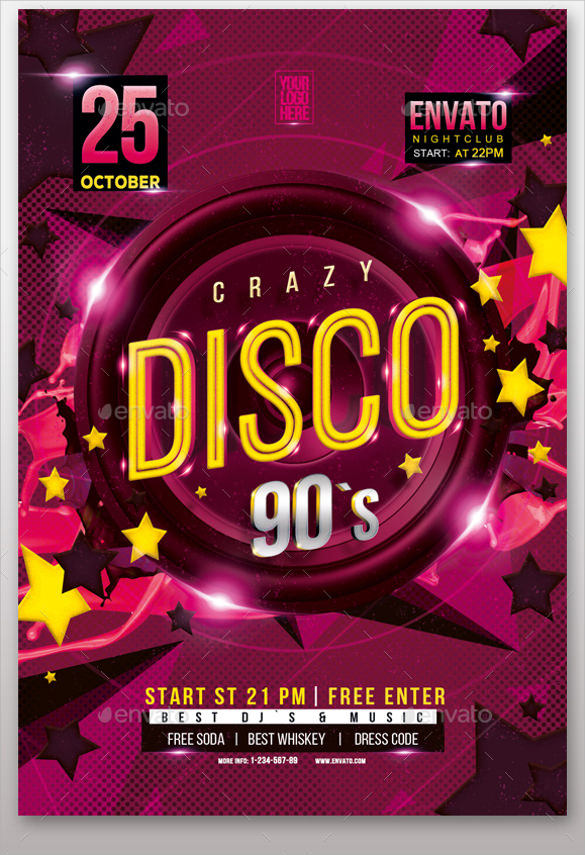 Disco Flyer Template   Download Documents In Vector Eps
