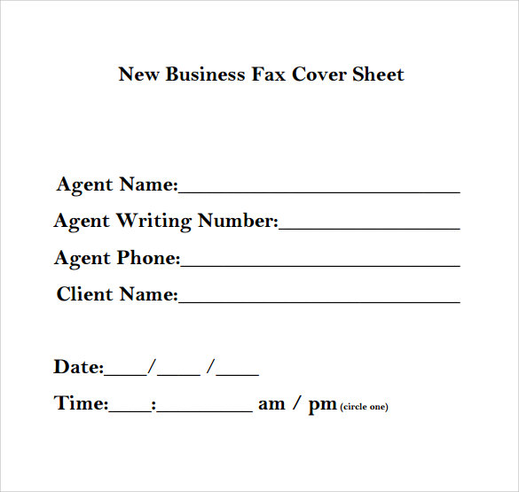 Sample Business Fax Cover Sheet   Documents In  Word