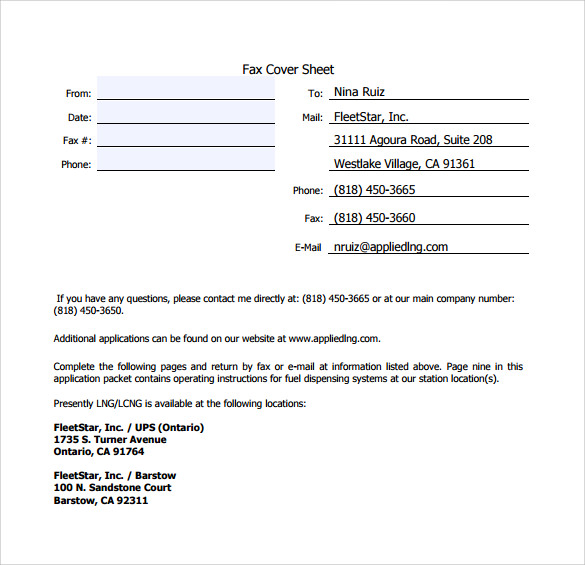 free downloadable business fax cover sheet