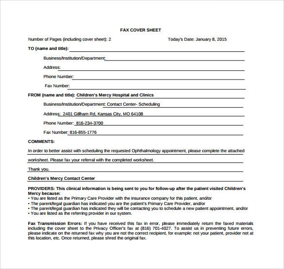 example of business fax cover sheet