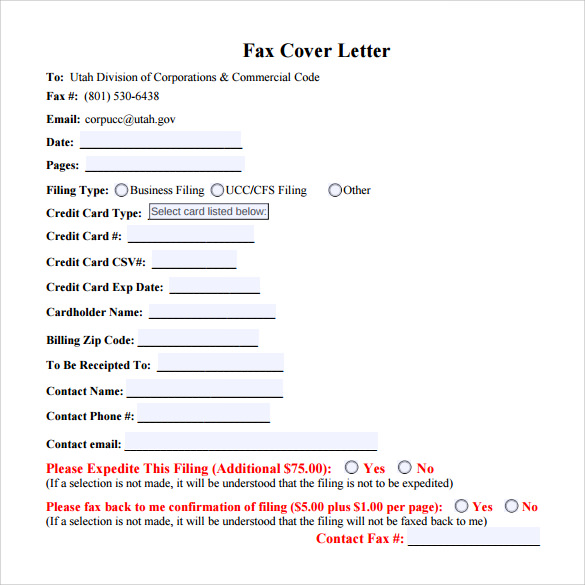 blank business fax cover sheet