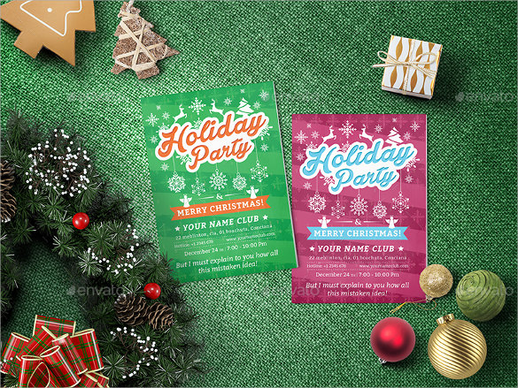 green background holiday party flyer