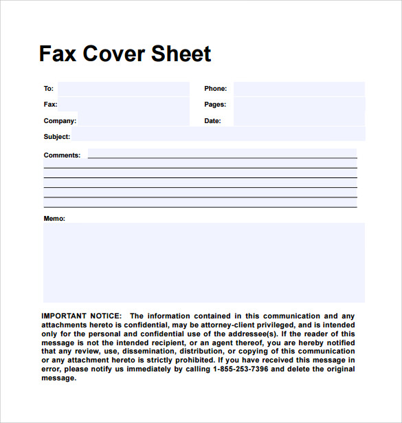 Sample Personal Fax Cover Sheet - 11+ Examples & Format