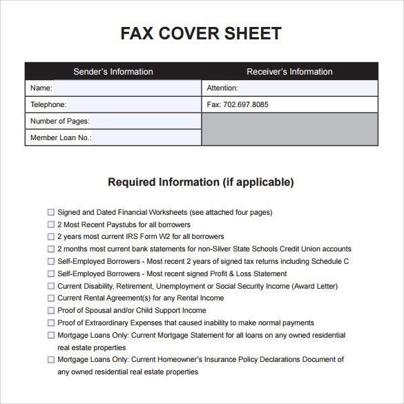personal fax cover sheet to print