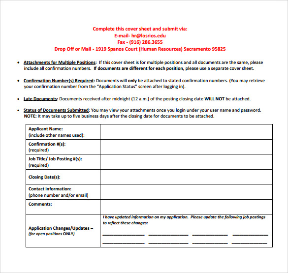 downloadable fax cover sheet for cv