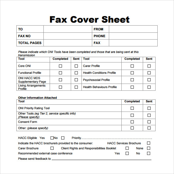 generic fax cover sheet download