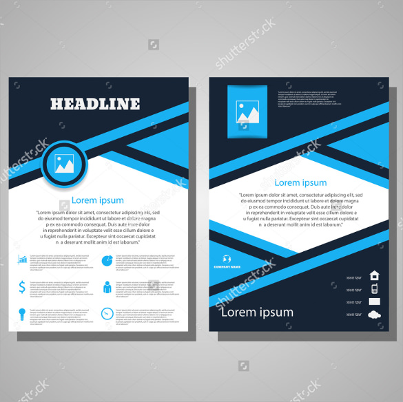 Awesome Blue Flyer Template - 16+ Download Documents Vector Eps, Psd