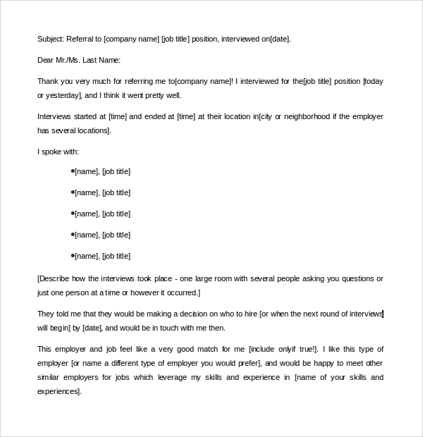 Sample Thank You Letter Template 16 Free Documents