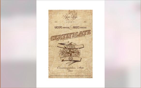 steampunk wedding certificate