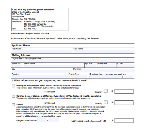wedding certificate application form