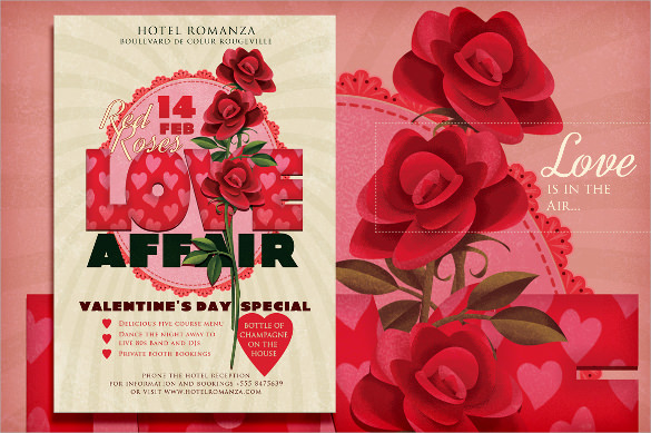 red roses flyer template