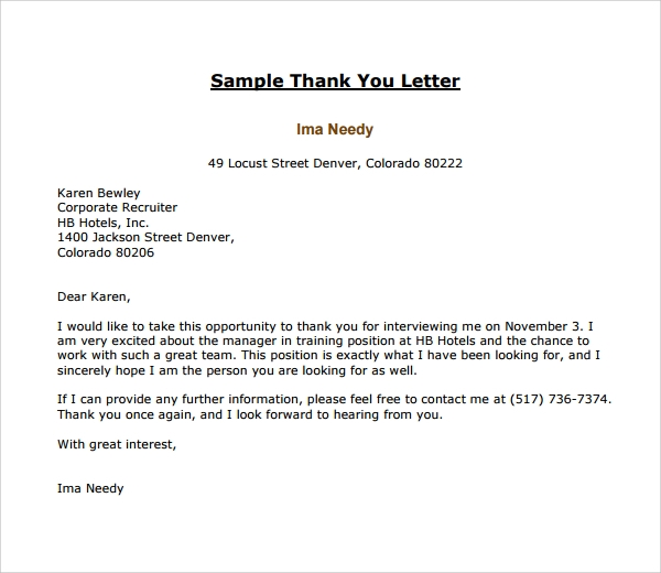 17 thank you letter templates sample templates free editable thank you letter to recruiter expocarfo Gallery