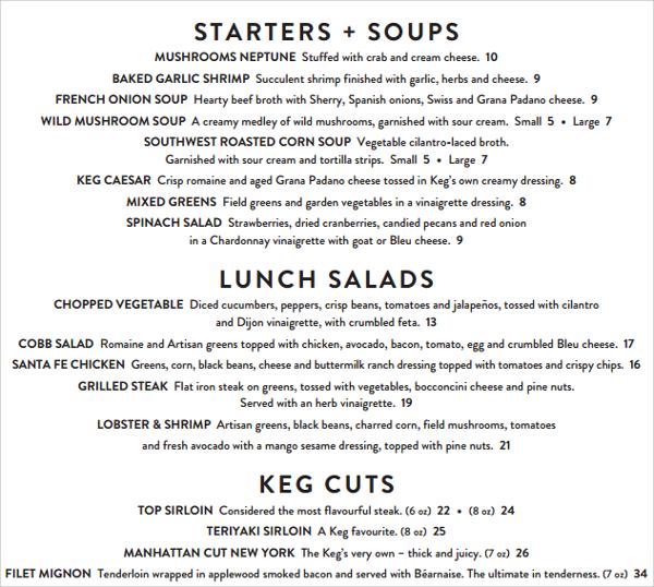 wondrous lunch menu template