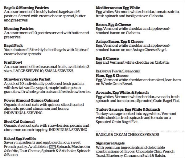 lunch menu template pdf