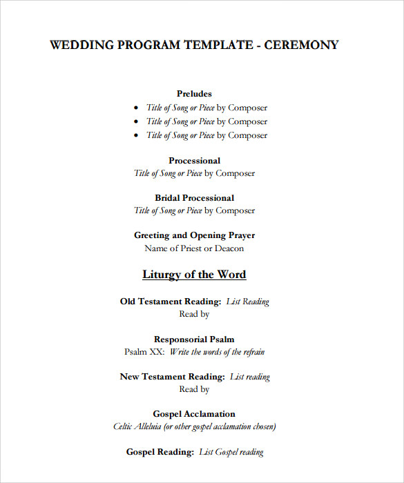 sample wedding program template 9 documents in pdf