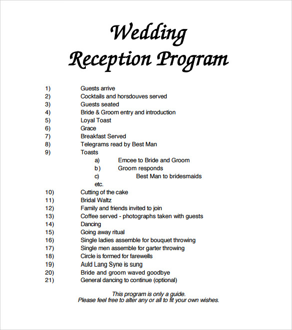 Sample Wedding Program Template