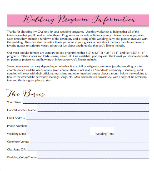 wedding program template free pdf