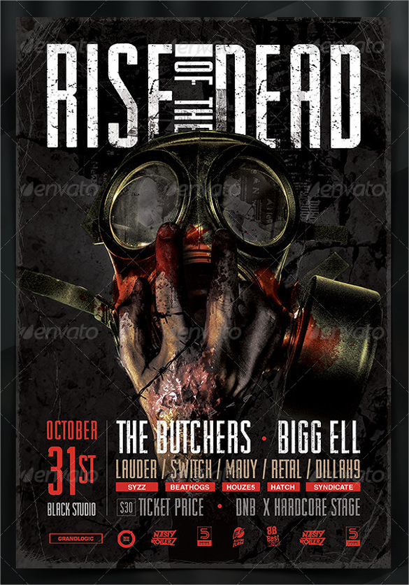 Zombie Flyer Template   Download Documents In Vector Eps Psd