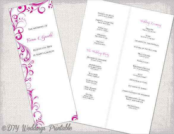 Wedding Order Of Service Template - 31+ Download Documents In PSD, PDF ...