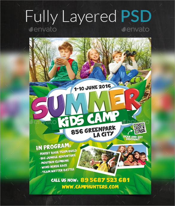 Summer Camp Flyer Template   Download Documents In Vector Eps Psd