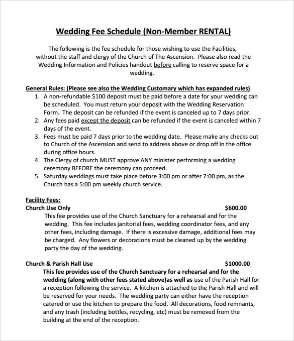 wedding schedule template example