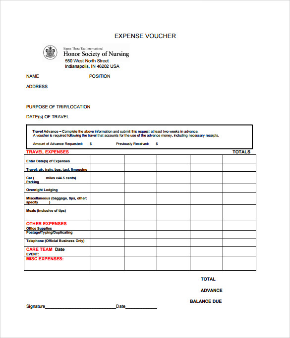 Sample Expense Voucher Template 7 Free Documents in PDF – Voucher Sample