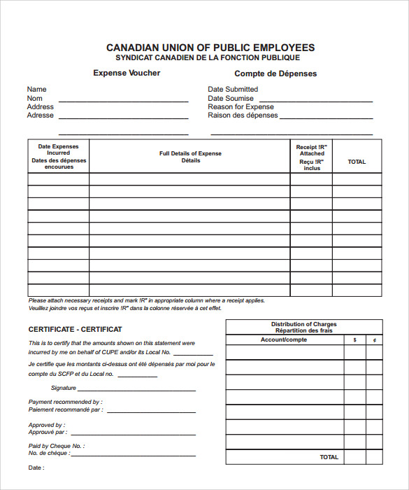 Sample Expense Voucher Template 7 Free Documents in PDF – Example of a Voucher