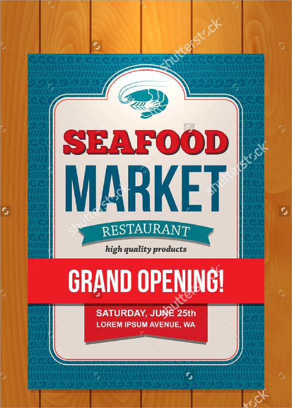 sea food grand opening flyer