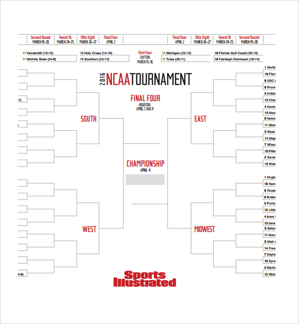 Sample Tournament Bracket   Documents In Pdf
