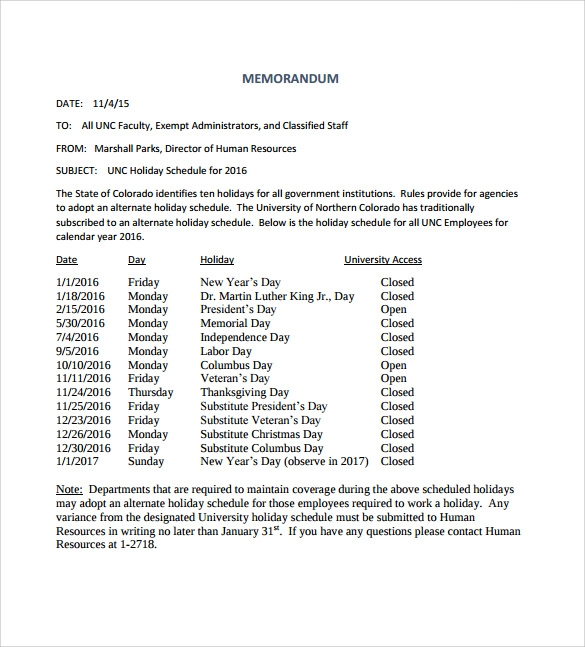 Sample Holiday Memo   Documents In Pdf