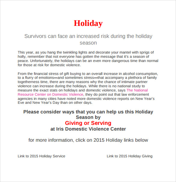 Holiday Memo Template   7  Download Documents In PDF Sample e8cF3En7