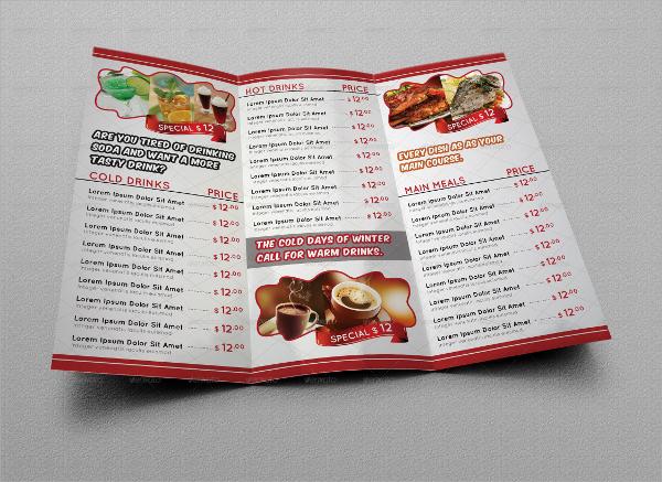 attractive cafe menu template1
