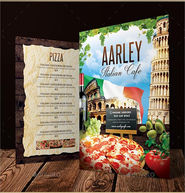 italian cafe menu template