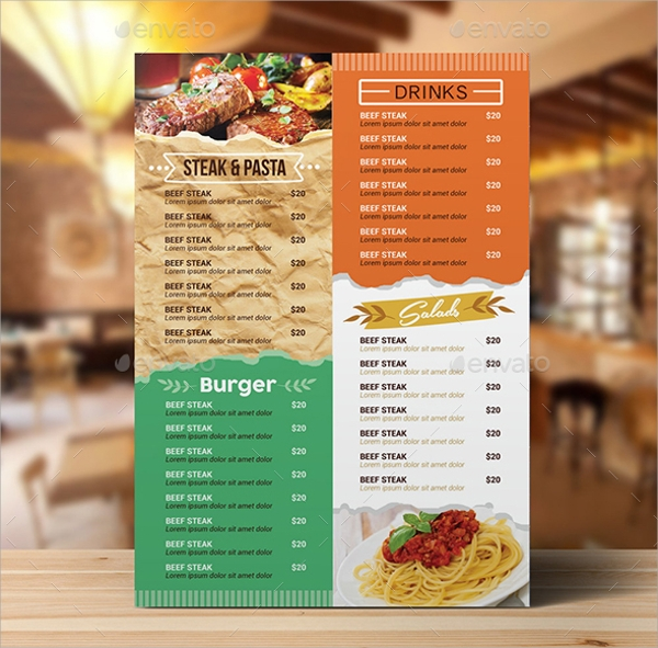 Sample Cafe Menu Template   Download Documents In Pdf Psd