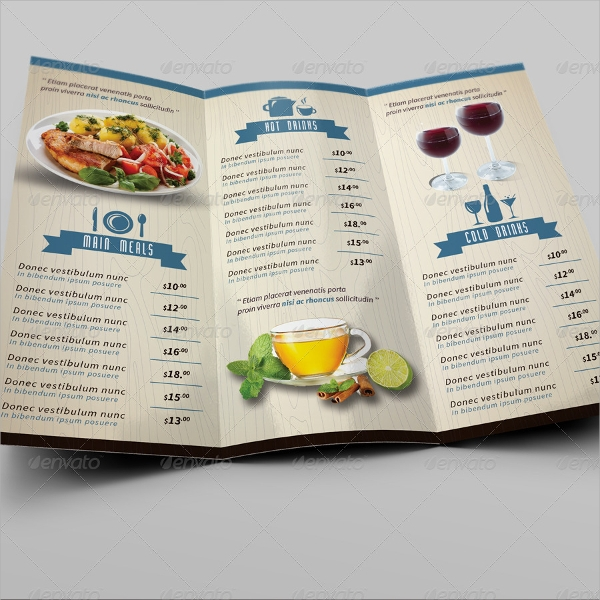 marvellous cafe menu template