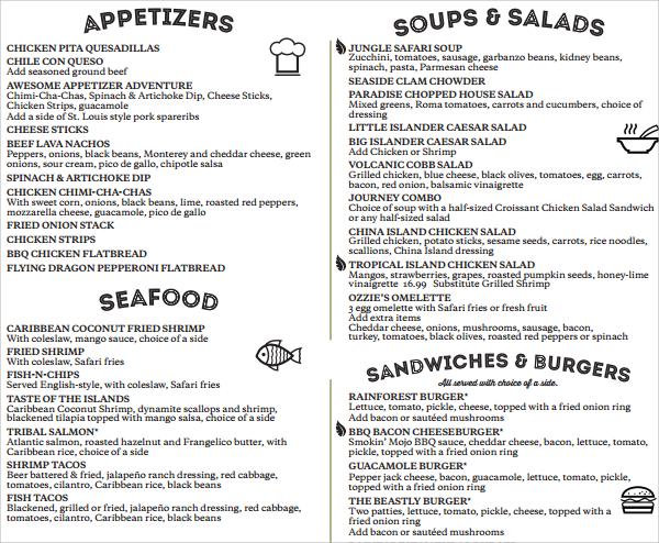 spectacular cafe menu template