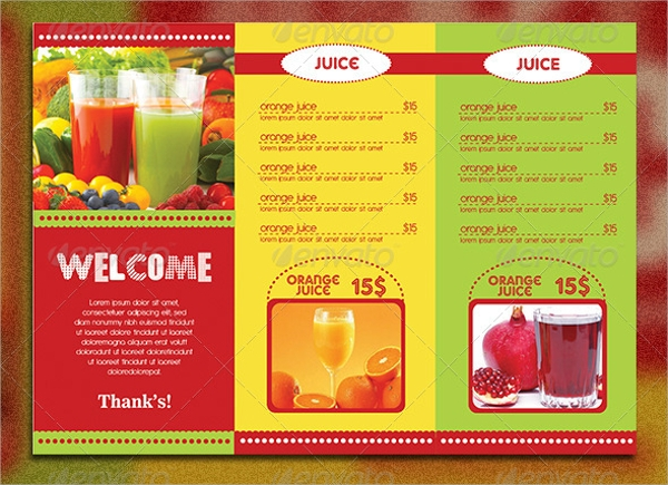trifold drink menu template
