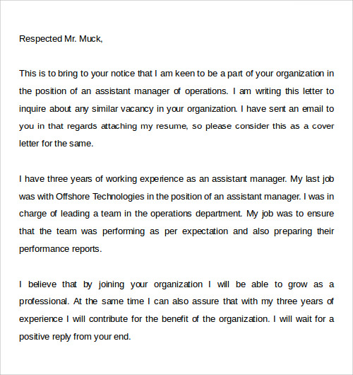 job email cover letter example