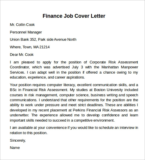 finance job cover letter example