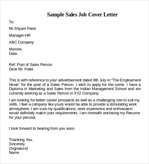 sample sales job cover letter example