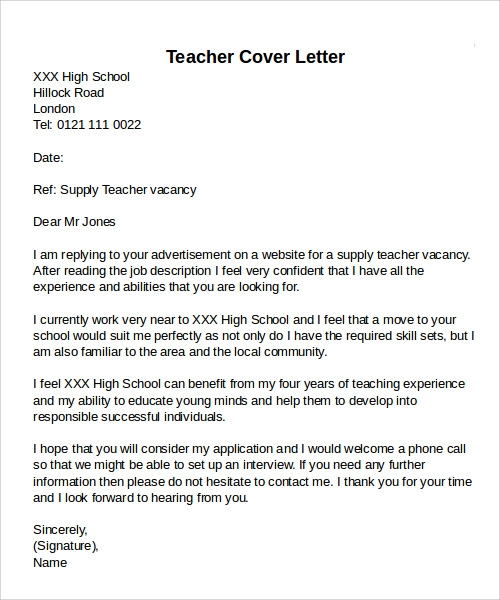 cover letter for mathematics teacher application