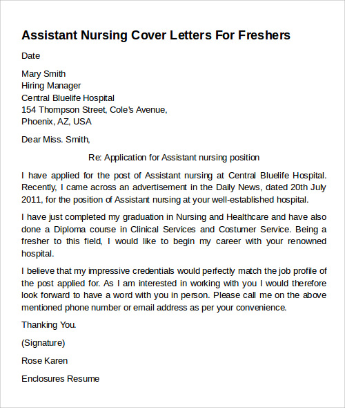 assistant nursing cover letter example